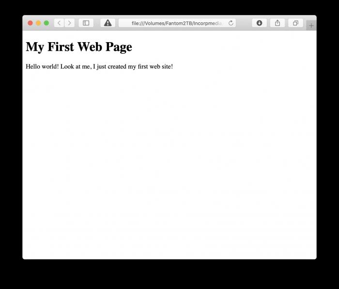 First Web Page Screenshot