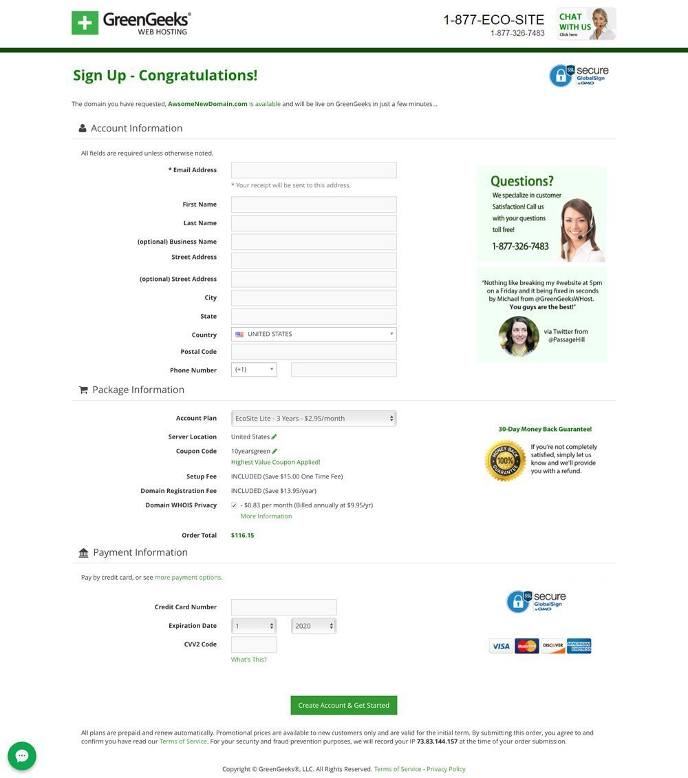 GreenGeeks 1-page checkout