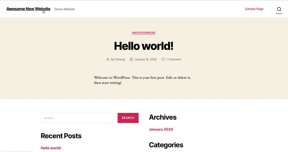 WordPress TwentyTwenty Theme Installed