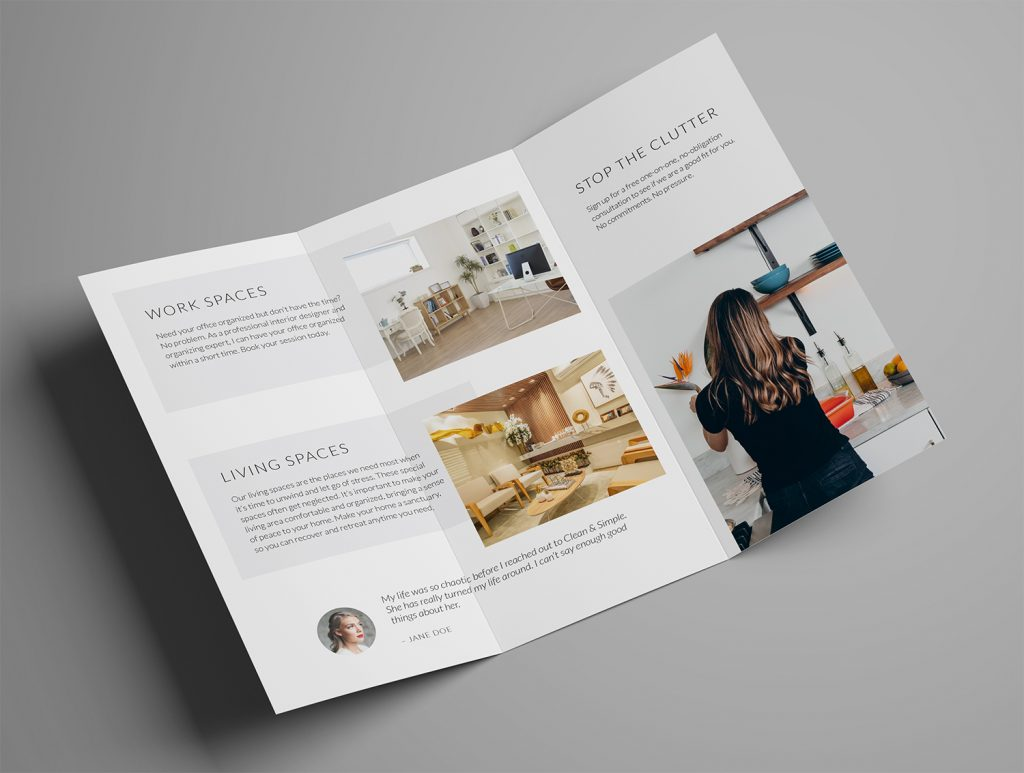 Ariyah Clean & Simple Trifold Brochure Template Inside