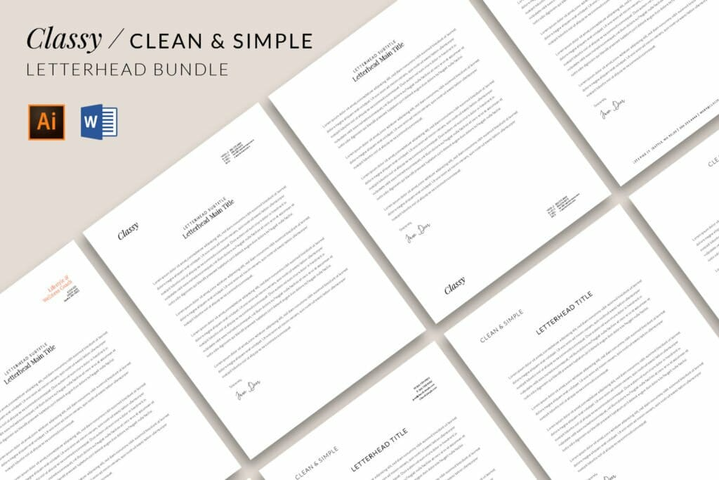Clasy / Clean and Simple Letterhead template bundle