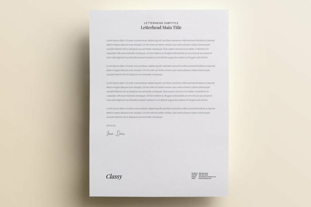 Classy and modern letterhead template design V3