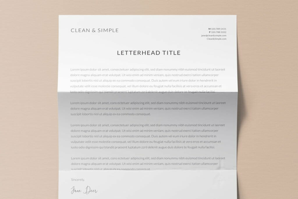 Clean and simple letterhead template design