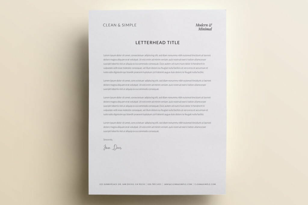 Clean and simple letterhead template design V1