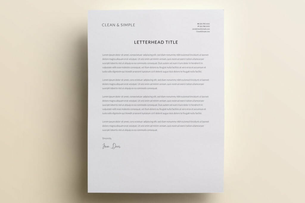 Clean and simple letterhead template design V2