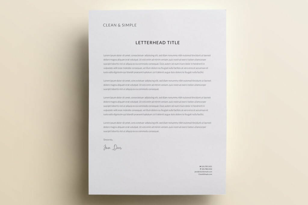 Clean and simple letterhead template design V3