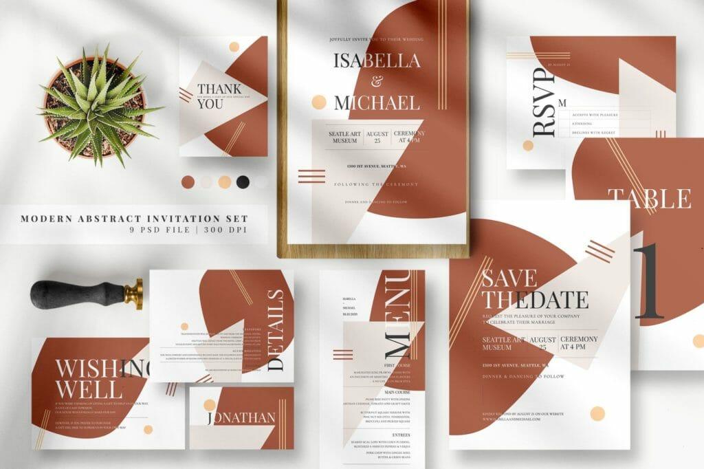 Free Modern Abstract Invitation Set