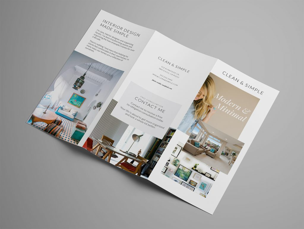 Ariyah Clean & Simple Trifold Brochure Template Outside